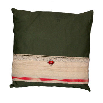Decorative Pillow Throw Pillow Envelope Pillow Upcycled Rustic Pillow Cottage Chic Green Army Laundry Bag Fabric Vintage Lace