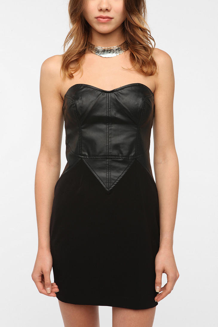 Silence & Noise Faux Leather Mix Strapless Dress