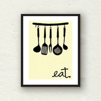 Kitchen Decor - Chevron Utensils Eat sign - 8x10 Graphic Art Print