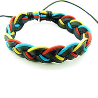 Soft Leather and Cotton Ropes Woven Women Jewelry Leather Cuff Bracelet  Women ropes bracelet 1184A