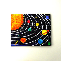 Art for Kids, SOLAR SYSTEM No.4, 20x16 acrylic canvas painting, space themed childrens decor wall art