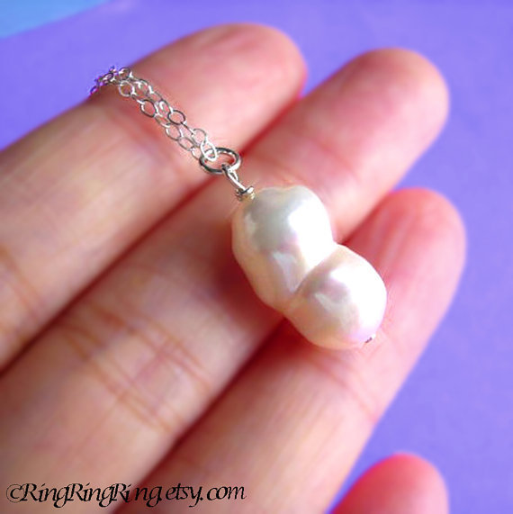 Large White Baroque Twin Genuine Pearl on 925 Sterling silver necklace.