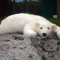 Handmade felted wool bear 45 cm - white big bear on BinneBear collection