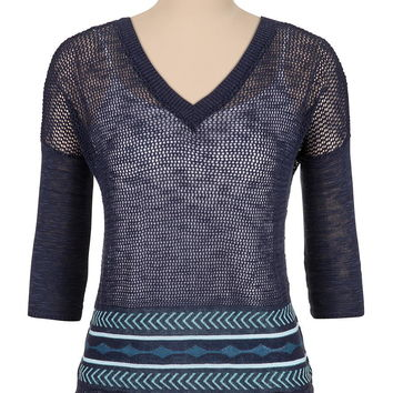 v-neck open stitch patterned sweater