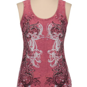 Maurices Premium embellished graphic tank with braid