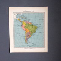 1940's Colorful Map of South America