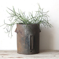 Industrial Metal Bin / Trash Basket / Planter
