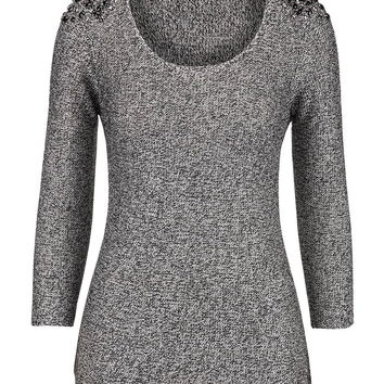 embellished shoulder marled sweater