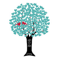 Love Tree Personalized Art Print - Aqua Red Black Bridal Shower Gift - 8x10 (20x25 cm)