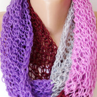 Multicolor Purple, dark red, Pink, Grey Chunky Cozy Loop Scarf