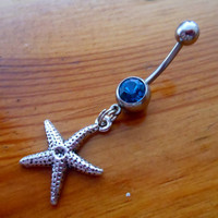 Belly Button Ring - Silver Starfish Belly Button Ring