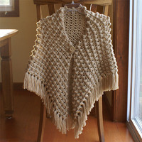Crochet Popcorn Stitch Shawl in Bone (Neutral)
