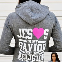 JCLU Forever Christian t-shirts — ZIPHOODIE-JESUS IS MY SAVIOR-HEATHER