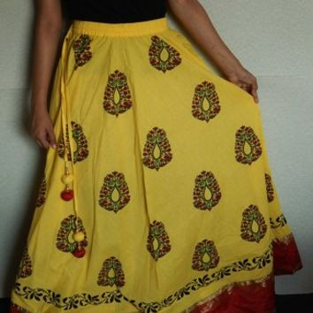 Maxi Skirt, Indian Skirt, Gypsy Skirt, Bohemian Skirt, Yellow Skirt