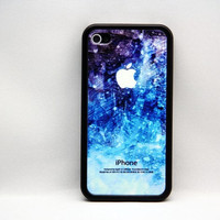 Grunge splatter blue hard cover case for iPhone 4 and iPhone 4S