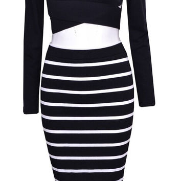 """""""Hollywood Dreams"""" Two pieces Stripes Dress Set"""
