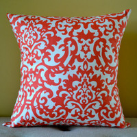 Waverly Designer Fabric 18 x 18 Pillow Cover - Coral and Cream Throw Pillow