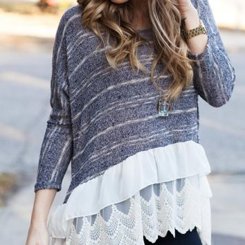 Off to the Laces Navy Sweater Top - Lotus Boutique
