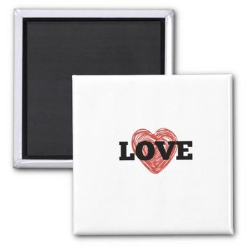 One Heart with Love Magnet