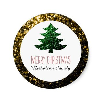Christmas tree green Gold sparkles Gift Tag sticker by PLdesign