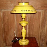 Vintage Mustard Yellow Tole Lamp  23 Inches Tall