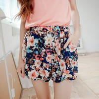 YESSTYLE: E MAGIC MIRROR- Elastic-Waist Floral Print Chiffon Shorts - Free International Shipping on orders over $150