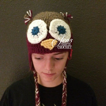 Crocheted Owl Hat, you pick your color.   Baby to adult sizes,  custom orders.