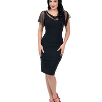 Black Mesh Panel Jessie Stretch Wiggle Dress