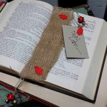 Handmade Bookmark - Burlap Fabric - Whimsical - OOAK