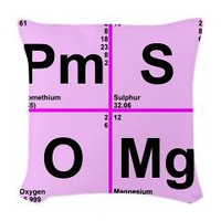 Periodic Table Words Woven Throw Pillow> PmS OMg> Periodic Nerds