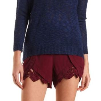 Lace-Trim High-Waisted Tulip Shorts by Charlotte Russe - Wine