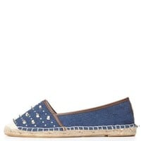 Bamboo Rhinestone-Studded Espadrille Flats by Charlotte Russe - Blue