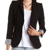 Single Button Boyfriend Blazer by Charlotte Russe - Black