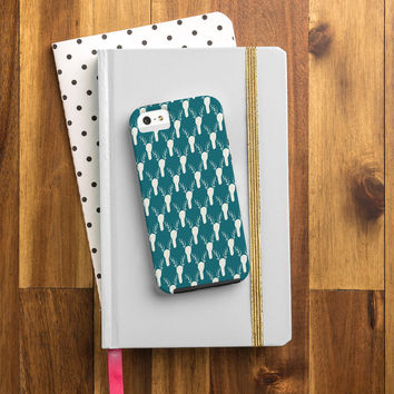 Allyson Johnson Teal Deer Head Pattern Cell Phone Case