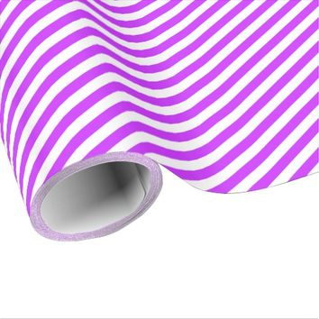 White And Purple Stripes Wrapping Paper