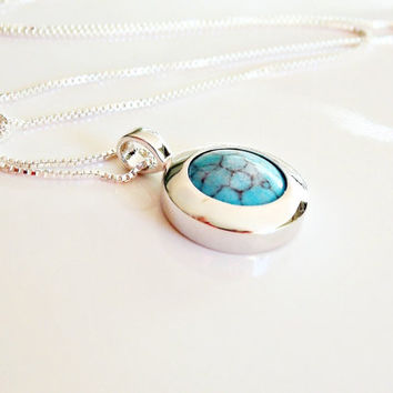 Chic Turquoise Necklace Sterling Silver. Turquoise Long Necklace. Turquoise Layering Necklace. Turquoise Bezel necklace