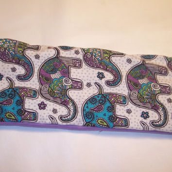 Neck Heating Pad, Cold Pack, Lower Back, Medium Sized, Rice Bags, Relaxation, Mosiac Elephants, Funky Elephants, Colorful