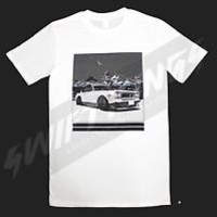 SNOW WHITE SKYLINE GTR T SHIRT FITTED 100% COTTON SWIFTKINGS ORIGINAL LIMITED QT