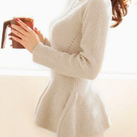 Knitted Cream Peplum Top - Top | Lookbook Store