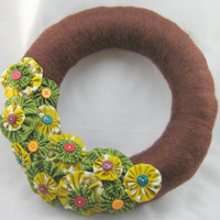 Fall Autumn Wreath with Fabric Flowers
