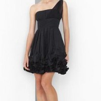 Special Offer Fashion One-Shoulder Silk Mini Little Black Dress Jes509