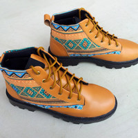 brown leather shoes with ikat canvas handmade Rangkayo casual sneakers Preorder unisex