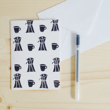 Coffee Card Hand Printed Eco-Friendly Card Greeting Card Linocut Stationery, Coffee Lover