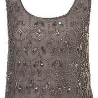 Paisley Embellished Crop Vest - Tops  - Apparel
