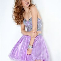 A-line Sweetheart with Crystals&Beadings Cut Out Back Short Tulle Prom Dress PD1982