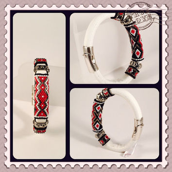Red Cloud Sead Beaded Leather Bangle