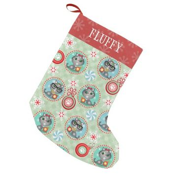 Custom Hipster Cat Pattern Christmas Stocking