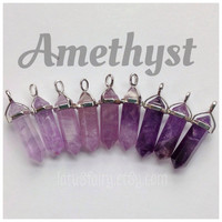 Amethyst crystal point pendant, choker necklace