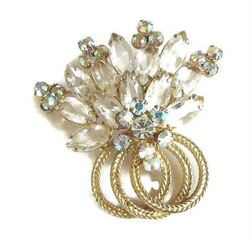 Vintage Verified D&E JULIANA Clear Crystal and Aurora Borealis Rhinestone Layered Spray Brooch or Pin