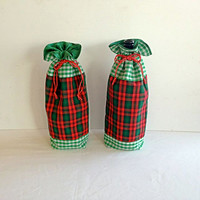 Christmas Fabric Lined Gift Bag with Drawstrings - Red and Green Checked - Recycle, Reuse, Eco-Friendly
